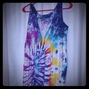 Women's Lounge Sun Dress Tie Tye Dye Hippie Retro